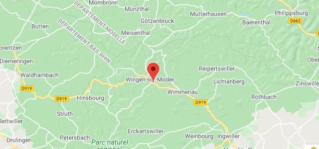 section de carte pour la france avec le concessionnaire S.A.S. 2.A.V. à Wingen-Sur-Moder